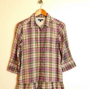 Gap Plaid Button Up Cotton Dress Size S 3/4 Sleeve
